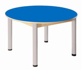 Beukenhouten tafel rond 100 cm. verstelbare metalen poten