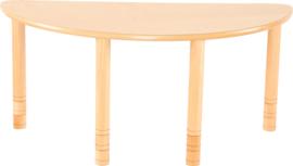 Halfronde Flexi tafel 120x60cm beuken in hoogte verstelbaar