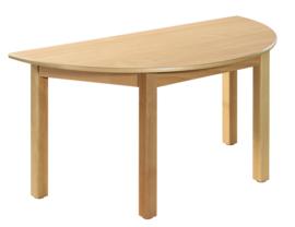 beukenhouten Halfronde tafel 120x60cm. 46-76