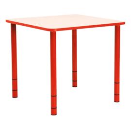 Vierkante Quint-tafel 65 x 65 cm met rode rand 40-58cm hoogte verstelbaar