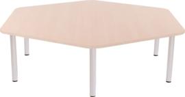 Zeshoekige Quint-tafel 128 cm met esdoornrand 40-58cm