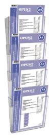 4 stuks Folderhouder OPUS 2 A4 wand staand koppelbaar transparant