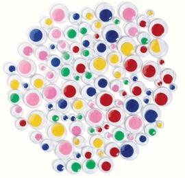 Wiebelogen gekleurd  zelfklevend  3-15 mm  assorti  100 stuks