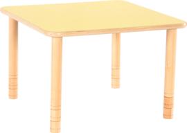 Vierkante Flexi tafel 80x80cm geel in hoogte verstelbaar