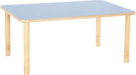 Rechthoekige Flexi tafel 120x80cm blauw 58-76cm hoogte verstelbaar
