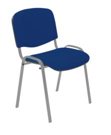 Vergaderstoel alu frame, blauwe stof