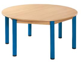 Tafel beuken/metaal 120 cm. rond 40-76 cm.