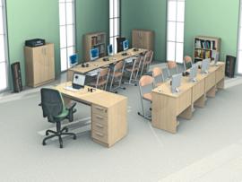 Computerbureau STANDAARD met plank voor computer en toetsenbordlade -  esdoorn
