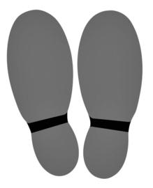 Vloersticker OPUS 2 voeten 2x lichtgrijs/zwart