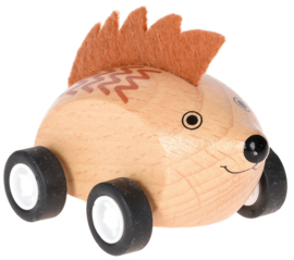 Houten egel op wielen