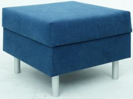 Vierkante relax poef marineblauw - ronde poten