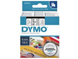 Labeltape Dymo 43610 D1 720770 6mmx7m zwart op transparant