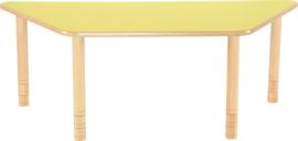 Trapezium Flexi tafel 150,5x80x80cm geel 58-76cm hoogte verstelbaar