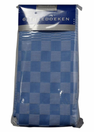 Theedoek Felicia katoen blauw/wit 65x65cm 6 stuks
