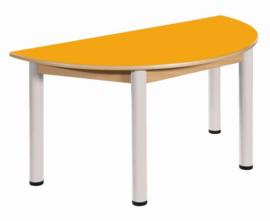 Beukenhouten halfronde tafel 120 x 60 cm. verstelbare metalen poten