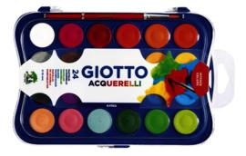 Gouache Giotto 30 mm. 24 kleuren, met penseel