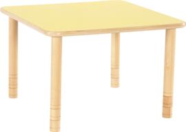 Vierkante Flexi tafel 80x80cm geel 58-76cm hoogte verstelbaar