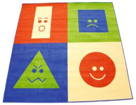 Tapijt 200x200cm - geometrische vormen en emoties
