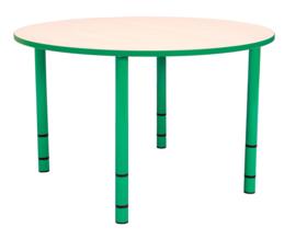 Ronde Quint-tafel 90 cm met groene rand en in  40-58cm hoogte verstelbaar