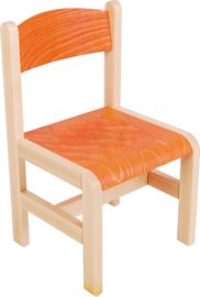 Houten stoel oranje met viltdoppen, oranje maat 1-3