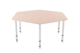 Zeshoekige Quint-tafel 128 cm met esdoornrand en in  40-58cm hoogte verstelbaar