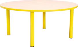 Ronde Quint-tafel 90 cm met gele rand 40-58cm