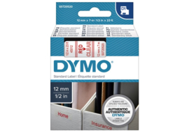 Labeltape Dymo 45012 D1 750520 12mmx7m rood op transparant