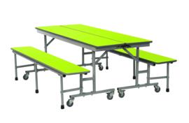 Mobiele tafel- en zitgeheel met 3 toepassingen 180cm