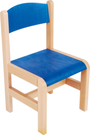 Houten stoelen met viltdoppen, blauw maat 1-3