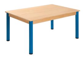 Tafel beuken/metaal 120 x 80 cm.  40-76 cm.