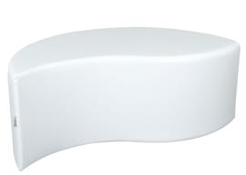 Witte poef in bladvorm zithoogte 44 cm