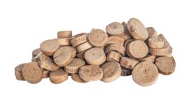 Ronde schijven hout doorsnee 1-2 cm 1 kilo