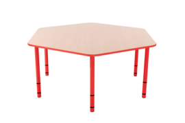 Zeshoekige Quint-tafel 128 cm met rode rand en in  40-58cm hoogte verstelbaar