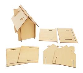 Bouwpakket huisje hout  6 stuks