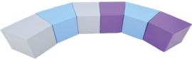 Set van 6 grote zitjes van 41cm - Paars/grijs/blauw