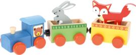Houten trein met dieren