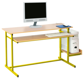 Computerbureau NEO 2, dubbel, met vaste toetsenbordlade - geel