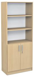 Expo hoge boekenkast met 3 open vakken - esdoorn