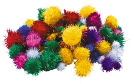Pompons glittere assorti 1-3cm 100 stuks