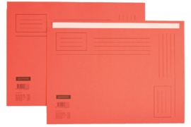 50x Vouwmap Quantore A4 ongelijke zijde 230gr rood