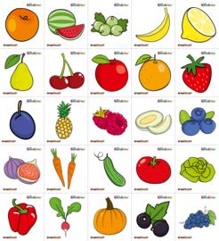 Garderobe stickers - fruit en groenten, 25 stuks