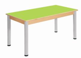 Beukenhouten tafel 120 x 60 cm. verstelbare metalen poten