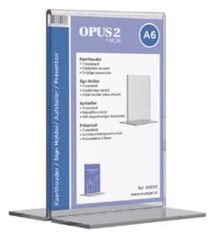Kaarthouder OPUS 2 T-standaard A6 staand acryl