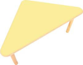 Driehoekige Flexi- tafel 108x80x80cm geel 40-58cm hoogte verstelbaar