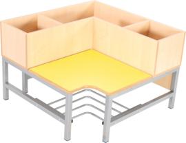 Flexi garderobe hoekbank 3, zithoogte 26 cm., geel