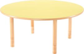 Ronde Flexi tafel 120cm geel in hoogte verstelbaar