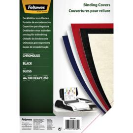 Voorblad Fellowes A4 Chromolux 250gr zwart 100stuks