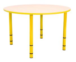 Ronde Quint-tafel 90 cm met gele rand en in  40-58cm hoogte verstelbaar
