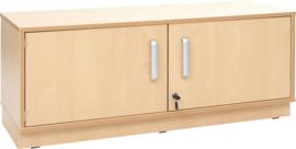 Flexi-kasten S met legbord, breed  - met plint, berken deuren met slot