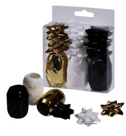 Cadeaulint en strikken Design Groep accessoire gift set zwart/goud/ wit 12-delig